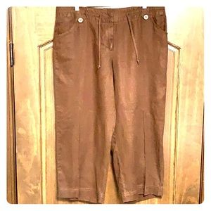 Merona Brown Linen Cropped Pants